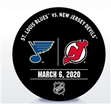 New Jersey Devils Warmup Puck<br>March 6, 2020 vs. St. Louis Blues<br>New Jersey Devils 2019-20<br>