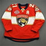 Trocheck, Vincent *<br>Red - Set 2 - w/A and 25th Anniversary Patch - PHOTO-MATCHED<br>Florida Panthers 2018-19<br>#21 Size: 54