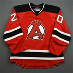 NNOB (No Name On Back) *<br>Red - Game-Issued (GI)<br>Albany Devils 2016-17<br>#20 Size: 54