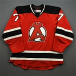 Stollery, Karl *<br>Red - Autographed<br>Albany Devils 2016-17<br>#7 Size: 54