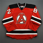 Wood, Miles *<br>Red - Autographed<br>Albany Devils 2016-17<br>#28 Size: 56