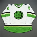 Harstad, Aaron<br>MARVEL Hulk (Game-Issued) - January 4, 2020 @ South Carolina Stingrays<br>Florida Everblades 2019-20<br>#55 Size: 54