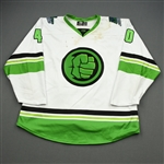 Koper, Levko<br>MARVEL Hulk w/Socks - Worn January 4, 2020 @ South Carolina Stingrays<br>Florida Everblades 2019-20<br>#40 Size: 54