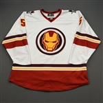 Sadek, Jack<br>MARVEL Iron Man w/Socks - Worn February 12, 2020 @ Rapid City Rush<br>Allen Americans 2019-20<br>#5 Size: 56