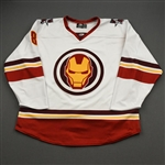 Sheehy, Tyler<br>MARVEL Iron Man w/Socks - Worn February 12, 2020 @ Rapid City Rush<br>Allen Americans 2019-20<br>#8 Size: 54