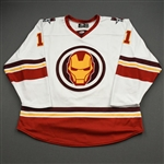 Topping, Jordan<br>MARVEL Iron Man w/Socks - Worn February 12, 2020 @ Rapid City Rush<br>Allen Americans 2019-20<br>#11 Size: 54