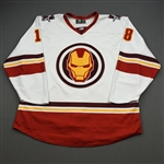 Durocher, Corey<br>MARVEL Iron Man w/Socks - Worn February 12, 2020 @ Rapid City Rush<br>Allen Americans 2019-20<br>#18 Size: 56