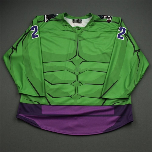 Watson, Bobby<br>MARVEL Hulk (Game-Issued) - January 18, 2020 @ Idaho Steelheads<br>Tulsa Oilers 2019-20<br>#22 Size: 54
