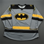 Sapego, Sergei<br>DC Batman (Game-Issued) - December 6, 2019 vs. Worcester Railers <br>Newfoundland Growlers 2019-20<br>#6 Size: 58