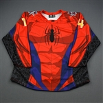 Lancaster, Lester<br>MARVEL Spider-Man w/Socks (Game-Issued) - November 23, 2019 vs. Wichita Thunder<br>Allen Americans 2019-20<br>#4 Size: 54