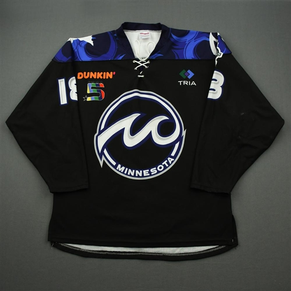 Anderson, Stephanie<br>Black Set 1 / Playoffs<br>Minnesota Whitecaps 2019-20<br>#8 Size: LG