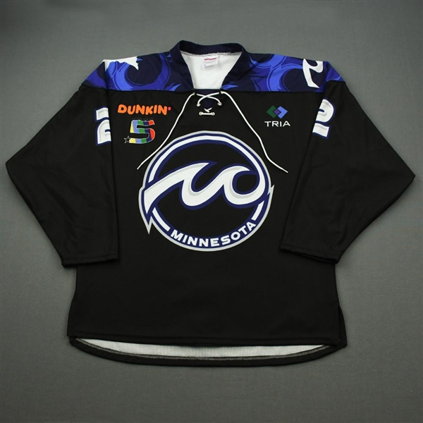 Baiwei, Yu<br>Black Set 1 (Game-Issued)<br>Minnesota Whitecaps 2019-20<br>#2 Size: LG