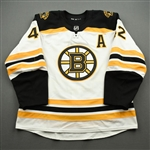Backes, David<br>White Set 2 w/A - Game-Issued (GI)<br>Boston Bruins 2019-20<br>#42 Size: 56
