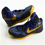 Curry, Stephen *<br>Nike - Hyperfuse QAM- Black/Uni-Gold- O. Navy - Autographed - Photo-Matched<br>Golden State Warriors 2012-13<br>#30 Size: 11