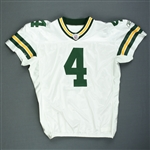 Favre, Brett*<br>White - worn 12/23/07 vs. Chicago - 2nd Half Only - Autographed and Inscribed - Photo-Matched<br>Green Bay Packers 2007<br>#4 Size: 52