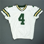 Favre, Brett*<br>White - worn 11/29/07 vs. Dallas - 1st Half Only - Autographed and Inscribed - Photo-Matched<br>Green Bay Packers 2007<br>#4 Size: 52