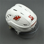 Carrick, Connor<br>White, Warrior Helmet w/ Bauer Shield<br>New Jersey Devils 2019-20<br>#5 Size: Small