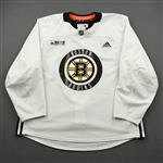 adidas<br>White Practice Jersey w/ ORG Packaging Patch <br>Boston Bruins 2019-20<br> Size: 56
