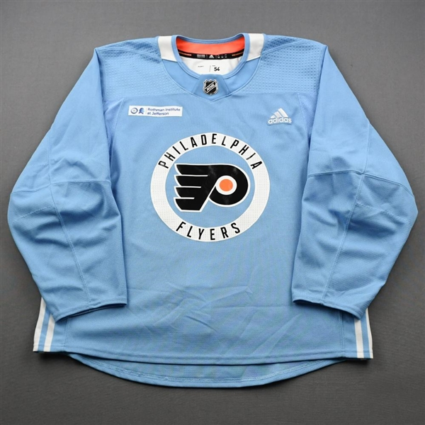 adidas<br>Light Blue Practice Jersey w/ Rothman Institute at Jefferson Health Patch<br>Philadelphia Flyers 2019-20<br>Size: 54