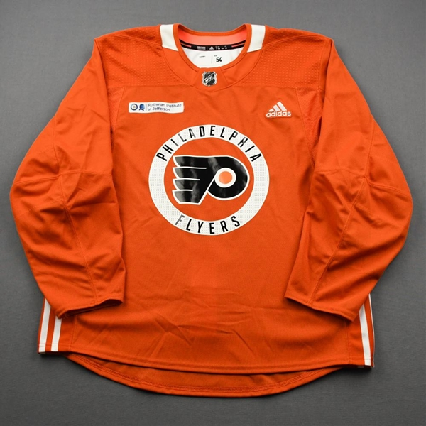 adidas<br>Orange Practice Jersey w/ Rothman Institute at Jefferson Health Patch<br>Philadelphia Flyers 2019-20<br>Size: 54