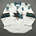 Pavelski, Joe *<br>White -w/C and Centennial Patch p- Photo-Matched<br>San Jose Sharks 2016-17<br>#8 Size: 56