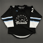 NNOB (No Name on Back), <br>Black w/ #12 Removed From Back, #1 Removed From Sleeves (Game-Issued)<br>Buffalo Beauts 2020-21<br> Size:  SM