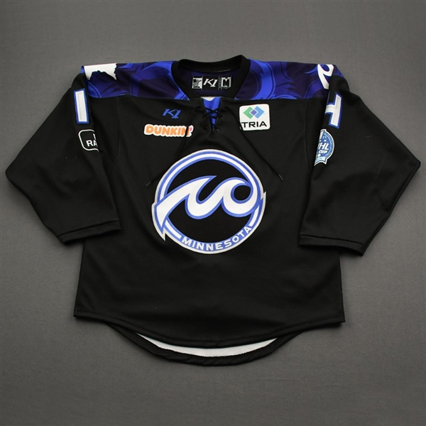 Alleva, Rose<br>Black Lake Placid Set w/ Isobel Cup & End Racism Patch<br>Minnesota Whitecaps 2020-21<br>#14 Size:  MD